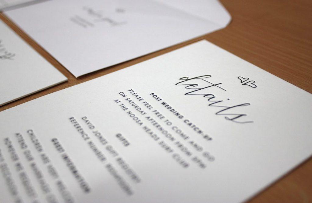 Embossed business cards Letterpress Invitations